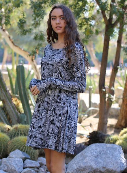 Angie Paisley Print Long Sleeved Dress (X4L48)