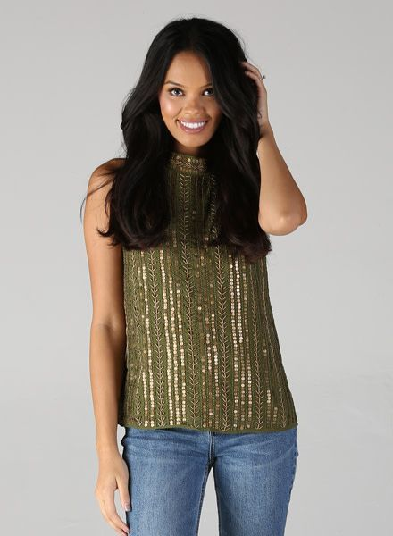 Angie Beaded High Neck Top (P2T84)
