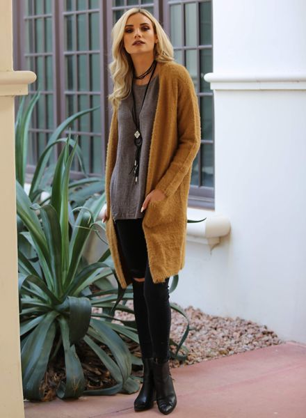Angie Super Soft Long Open Cardigan Sweater with Pockets (XHA70)