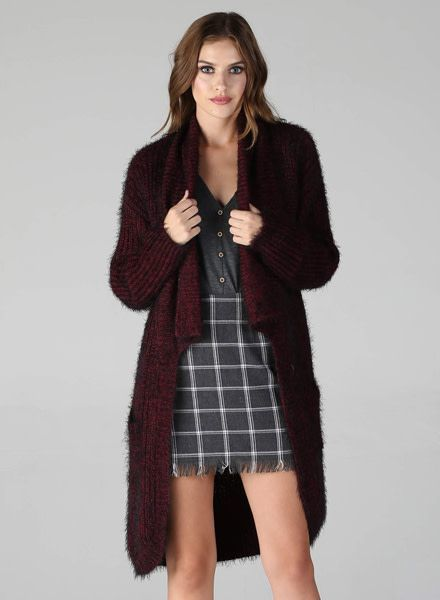 Angie Super Soft Black-Oxblood Open Cardi With Pockets (XHA43)