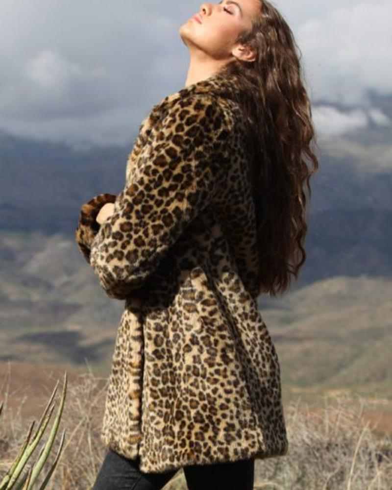Angie Faux Leopard Mid Length Coat (SJ793)