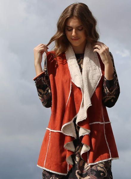 Angie Open Front Faux Suede Fur Lined Vest (SJ710)