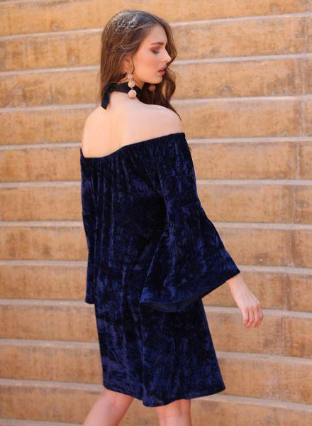 Angie Crushed Velvet Off Shoulder Dress (B4Z01)