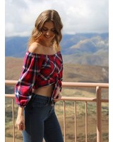 Angie Plaid Off Shoulder Top (F2035)