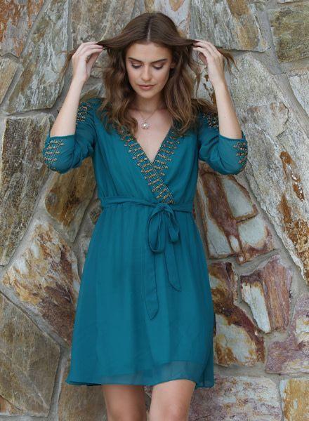 Angie Surplus Neck Beaded Long Sleeve Dress (B4Z84)