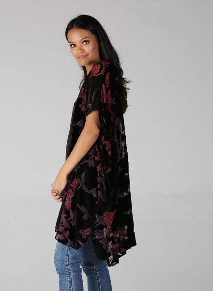 Angie Floral Burnout Velvet Kimono (P2M54)