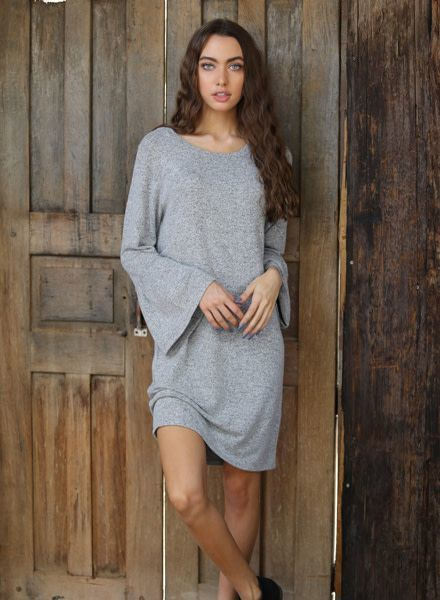 Angie Heather Hatchi Ruffle Cuff Sweater Dress (X4T83)