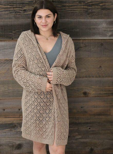 POL Crochet Long Line Silhouette Hooded Cardigan (JST634A)