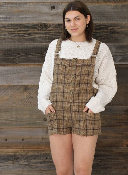 POL Front Button Checkered Plaid Overalls (TKDP18)