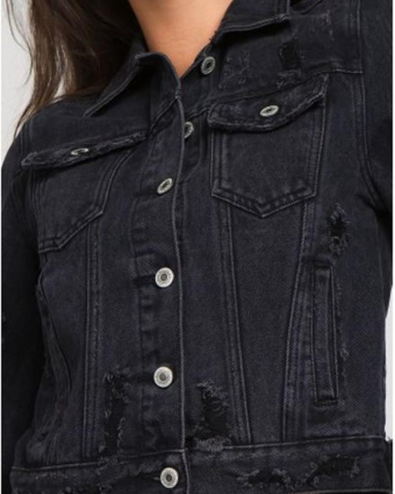 Signature 8 Destroyed Black Denim Jacket (S5113B)