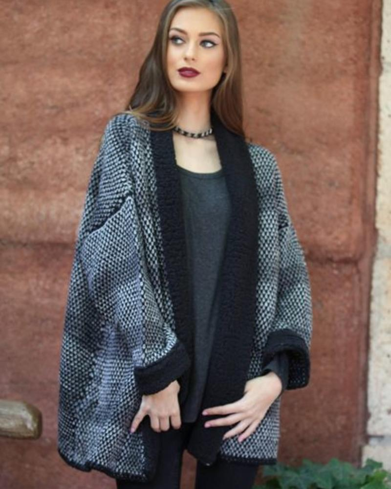 Angie Fuzzy Lapel Open Cardigan (XHC23)- FINAL SALE