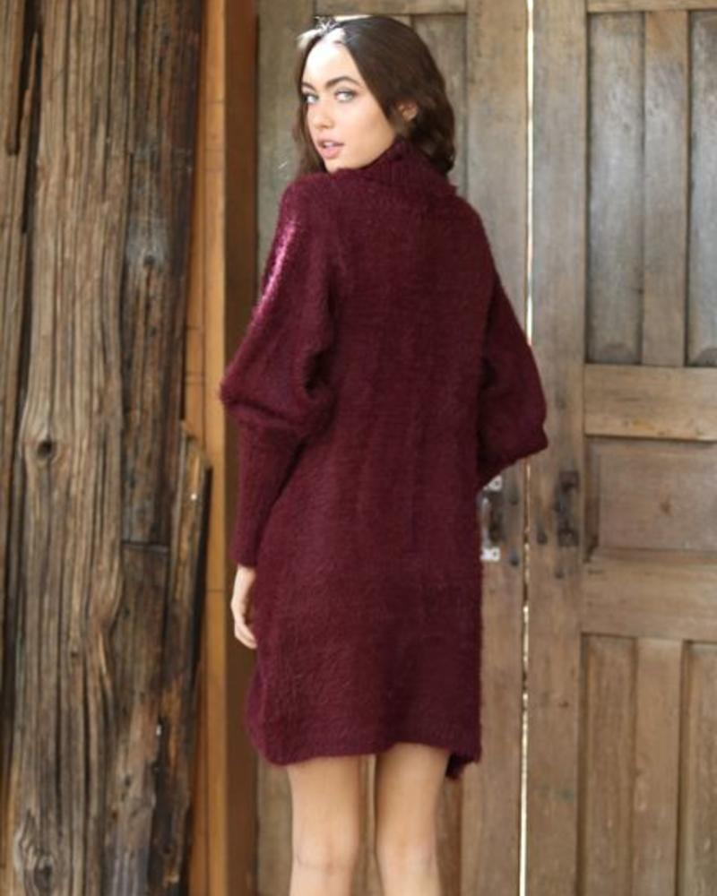 Angie  Fuzzy Mock Neck Balloon Sleeve Sweater Dress (XHD88) - FINAL SALE