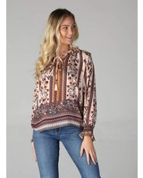 Angie Tie Neck Long Sleeve Top (B2W06)