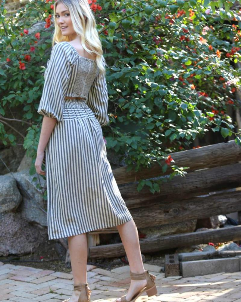 Angie Striped Skirt Button Front With Pockets (26N02)