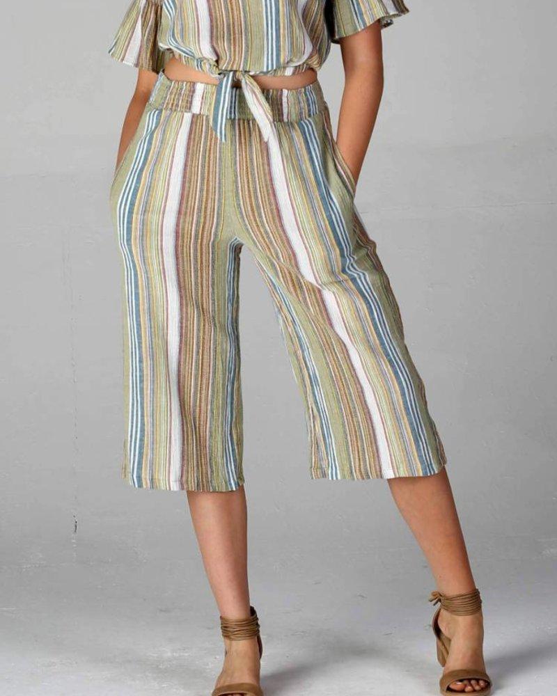 Angie Woven Stripe Crop Length Pant (25B85)