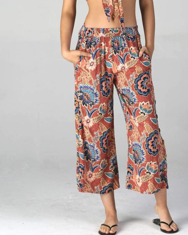 Angie Printed Cropped Pants With Coconut Side Button (B3345)