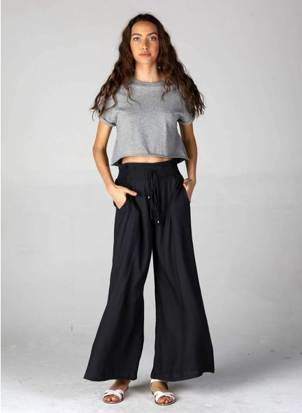 Angie Wide Leg Pants with Embroidered Smock Waist with Drawstring (XP463)