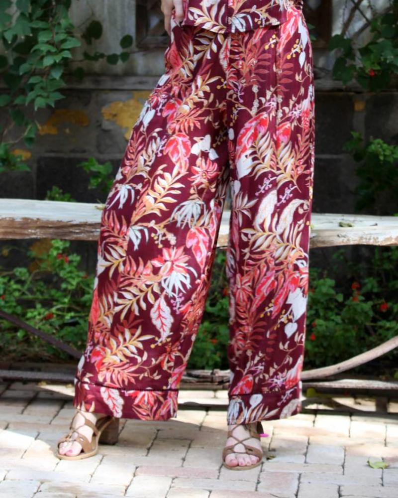Angie Printed Wide Leg Pants (B3346)