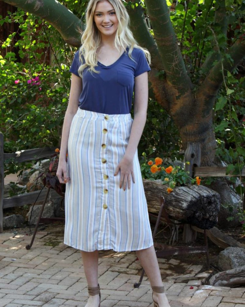 Angie Woven Stripe Button Front Skirt (26N01)