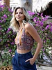Angie Printed Crop Top With Smocked Waist (P2W36)