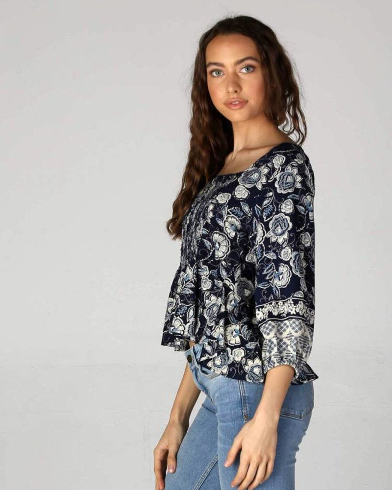 Angie Woven Smocked Front Full Sleeves Peplum Top (F2030)