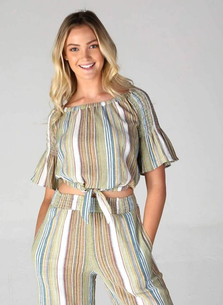 Angie Woven Stripe Off Shoulder Top With Tie  (F2064)