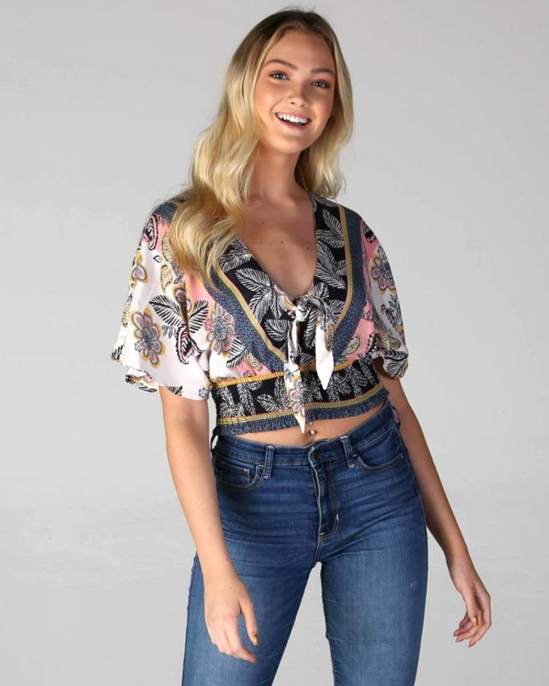 Angie Tie Front Top (F2090)