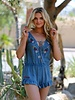 Angie Lace Up Tank Romper with Floral Embroidered Flouncy Shorts  (Q5T18)