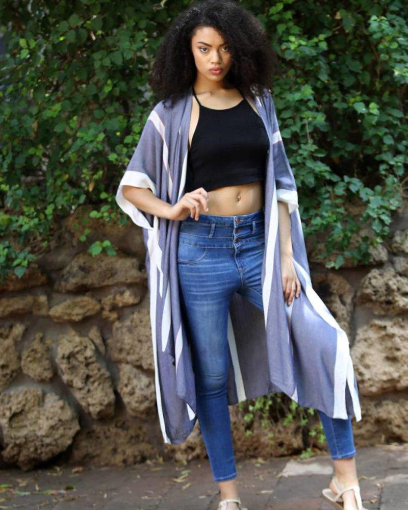 Angie Striped Long Kimono (X2W51-STRP)