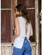 Angie Open Back Short Sleeve Knit Tank (X2X41)