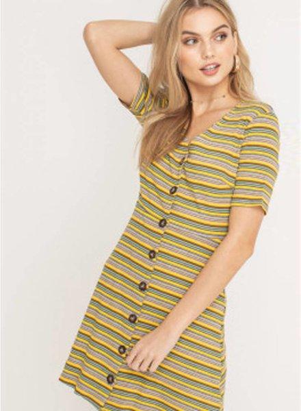 LUSH Mutli Rib Buttom Down Dress (DR95647C)