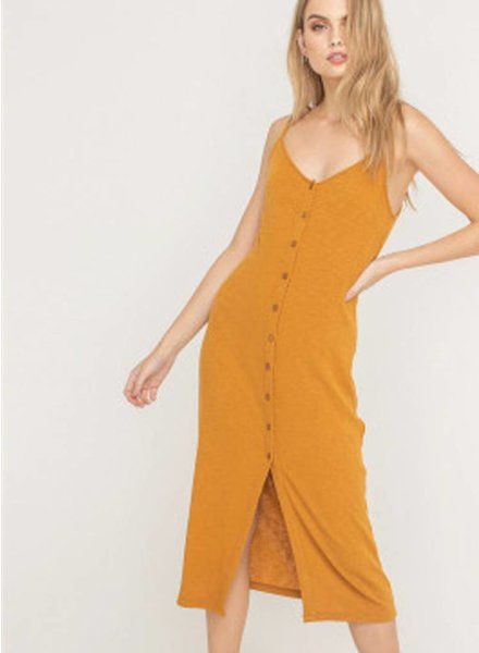 LUSH Ribbed Buttom Down Mid Dress (DR95727)