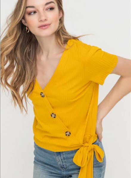LUSH Side Tie Rib Knit Button Down Top (T14522)