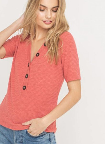 LUSH Ribbed Button Down V-Neck Top (T14525)