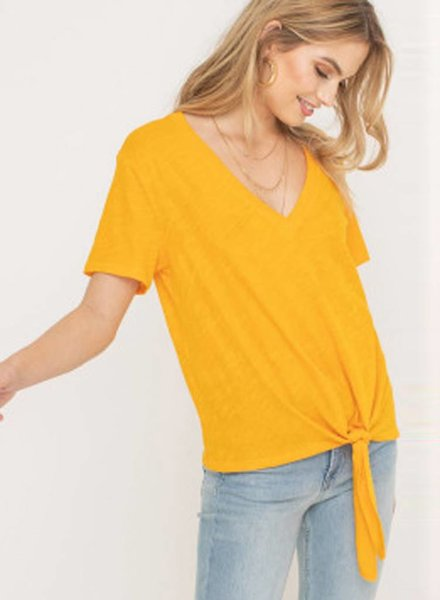 LUSH Tie Front V-neck Top (T14532-GI)