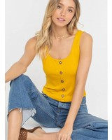 LUSH Button Down Knit Tank (T14553C)