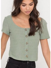 LUSH Button Down Ribbed Knit Top (T14673)