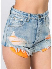 Signature 8 Neon Inside Pocket Detail Denim Shorts (S8407A)
