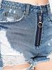 Signature 8 Front Zipper Detail Distressed Denim Shorts (S8348)