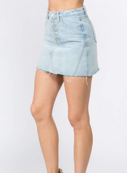Signature 8 Button Front Denim Skirt (S7351)