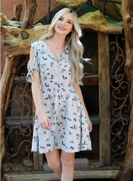 Angie Tie Sleeve Printed Shirtdress (B4Y55)