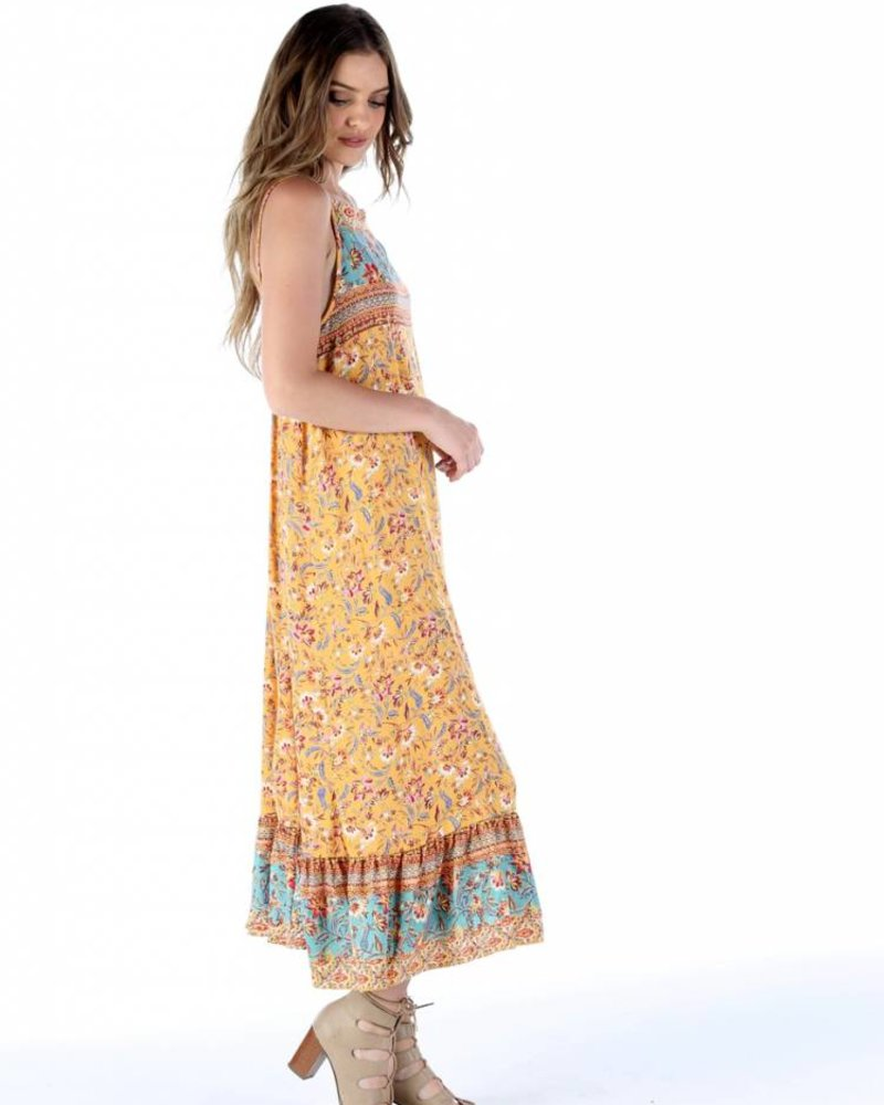 Angie Spaghetti Strap Maxi With Side Slit (F4922)