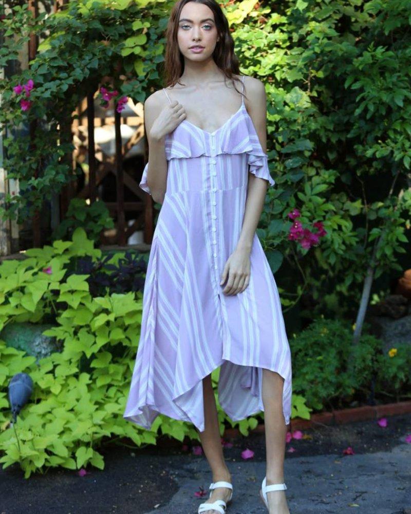 Angie Button Front Cold Shoulder Dress (X4V36)