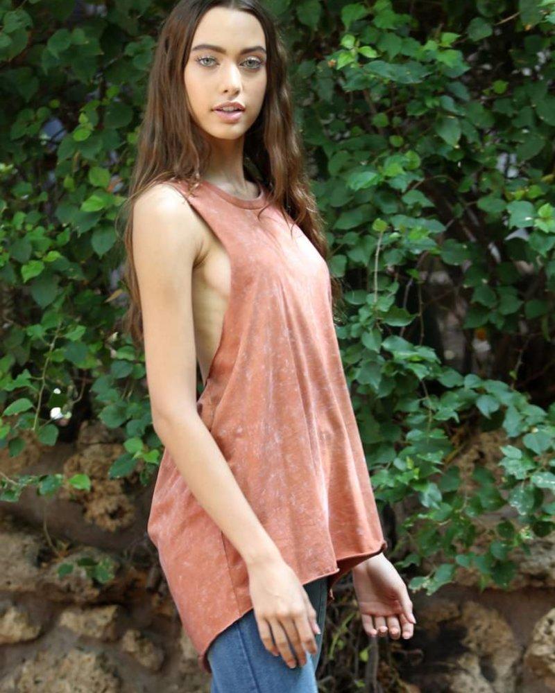 Angie Mineral Wash Twisty Back Knit Tank (X2Y01)