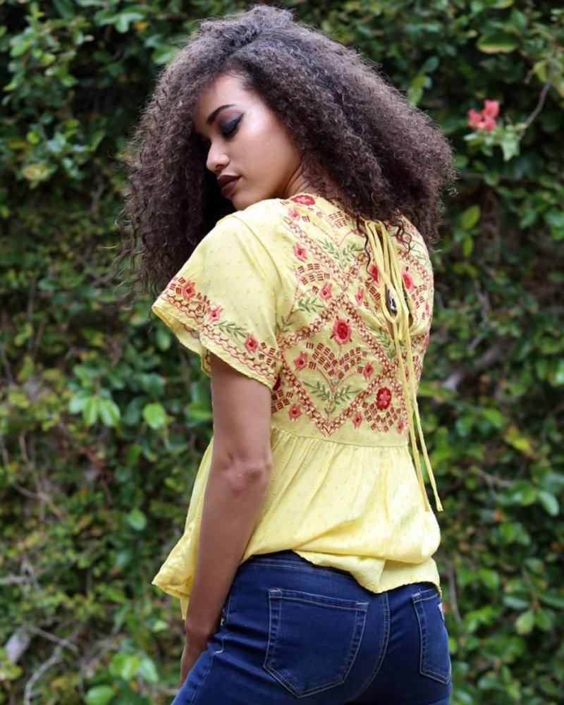 Angie Swiss Dot Top With Front Embroidery (B2U61)