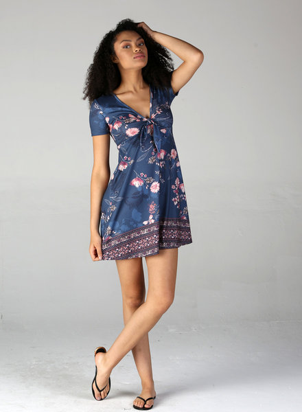 Angie Printed Knit Short Sleeve Tie Front Dress (X4V41)