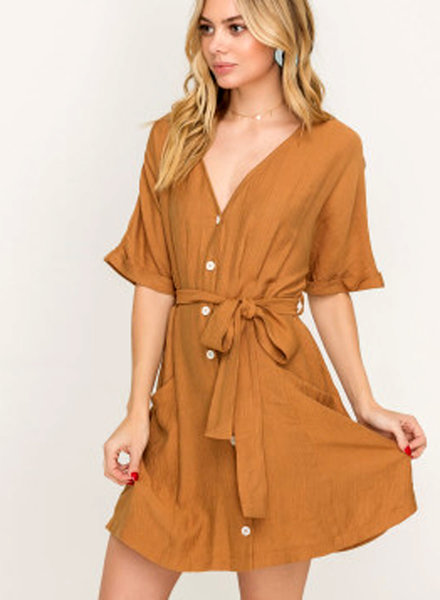 LUSH Sash Belted Buttoned Mini Dress (LD42744-CI)
