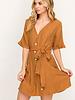 LUSH Sash Belted Buttoned Mini Dress (LD42744-CI)