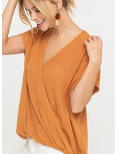 LUSH Draped Ribbed Knit Top (T14742)
