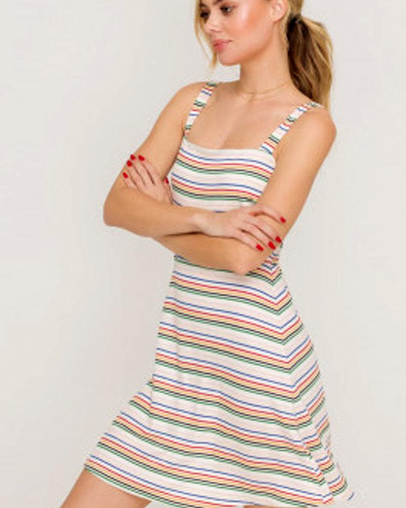 LUSH Two Toned Rib Square Neck Dress (DR95750B)